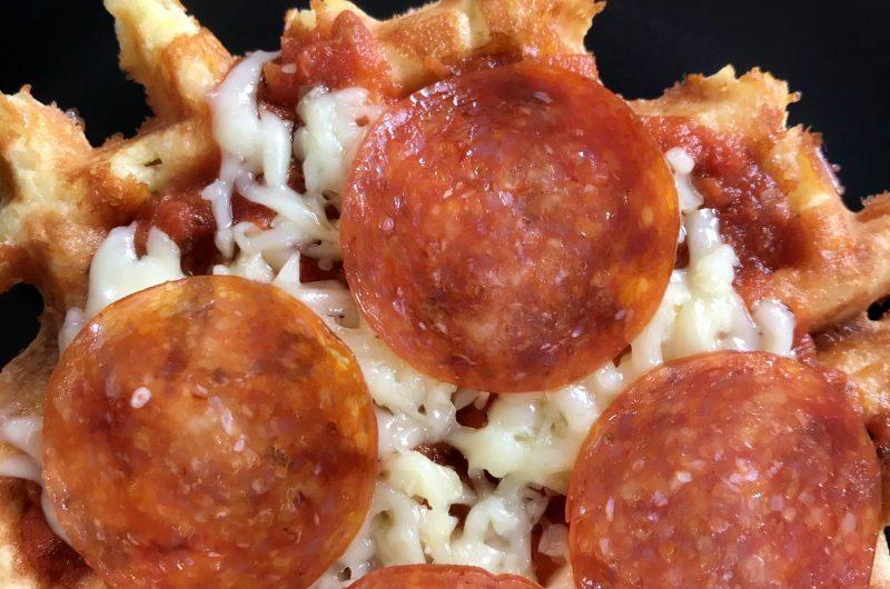 Keto chaffles pizza